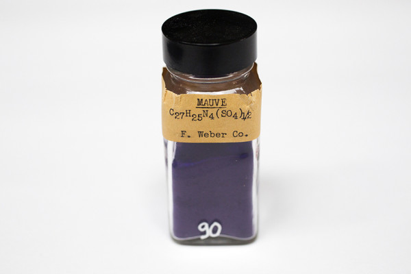 A specimen labeled Mauve is pictured from the pigment collection of the Straus Center for Conservation and Technical Studies housed inside the Harvard Art Museums at Harvard University. Stephanie Mitchell/Harvard Staff Photographer