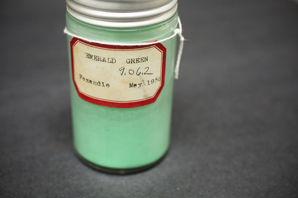 A specimen labeled Emerald Green is pictured from the pigment collection of the Straus Center for Conservation and Technical Studies housed inside the Harvard Art Museums at Harvard University. Stephanie Mitchell/Harvard Staff Photographer