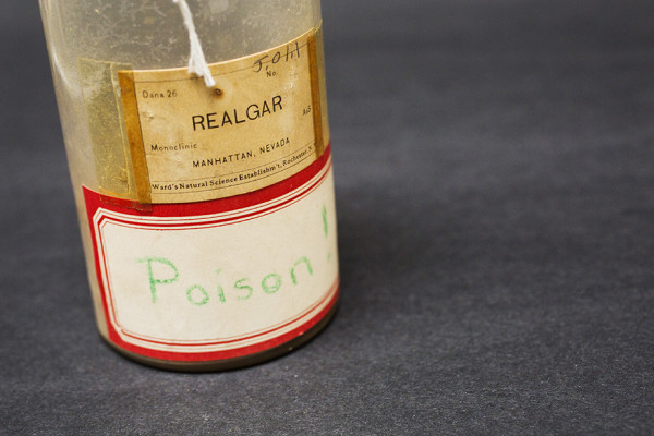 A specimen labeled Realgar is pictured from the pigment collection of the Straus Center for Conservation and Technical Studies housed inside the Harvard Art Museums at Harvard University. Stephanie Mitchell/Harvard Staff Photographer