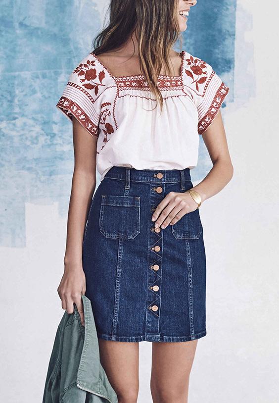 Madewell-Spring-2016-Lookbook-Denim-Skirt-and-Prairie-Blouse