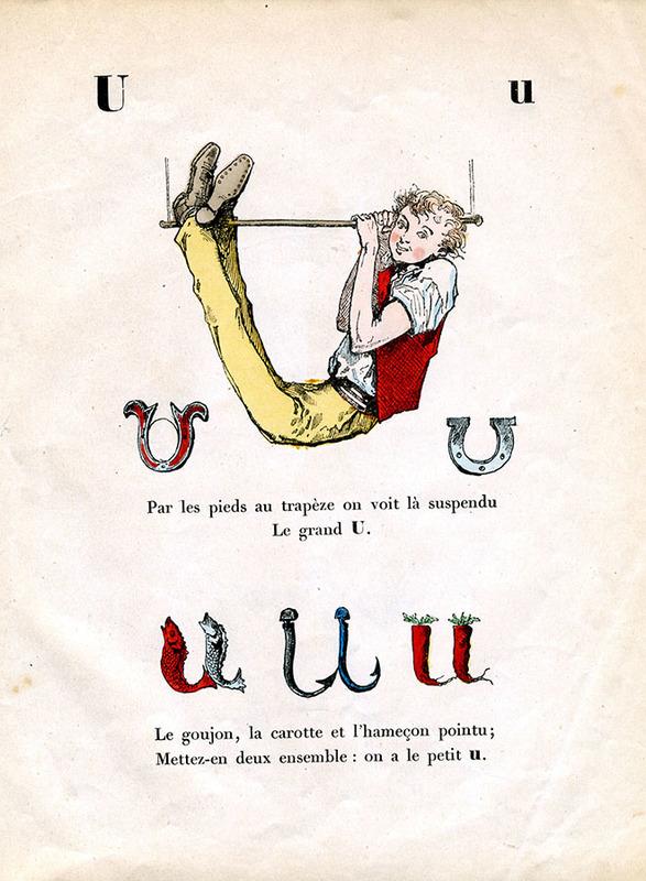 Буквар «A. B. C. Trim, alphabet enchanté ». Ілюстрації Берталя. Франція, 1861 рік