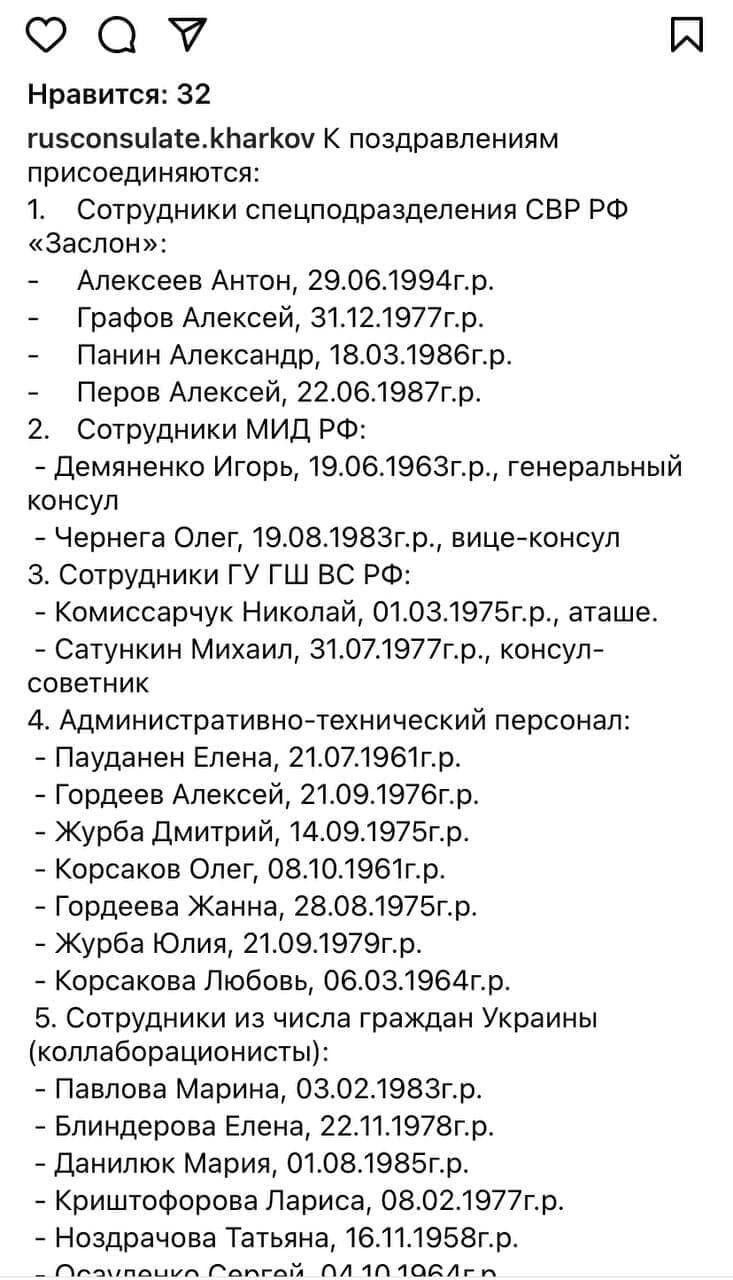 Список співробітників ФСБ.