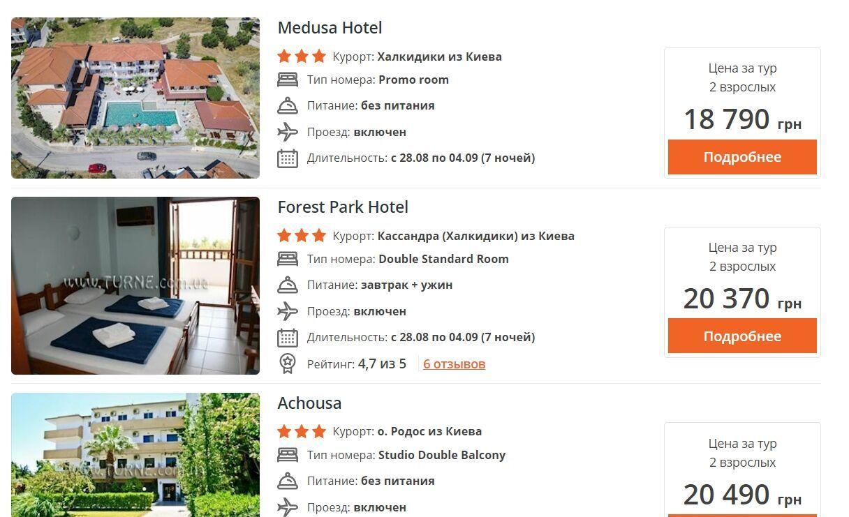 Семиденне перебування в тризірковому готелі в Греції в сезон (серпень-вересень) обійдеться двом від 19 тисяч