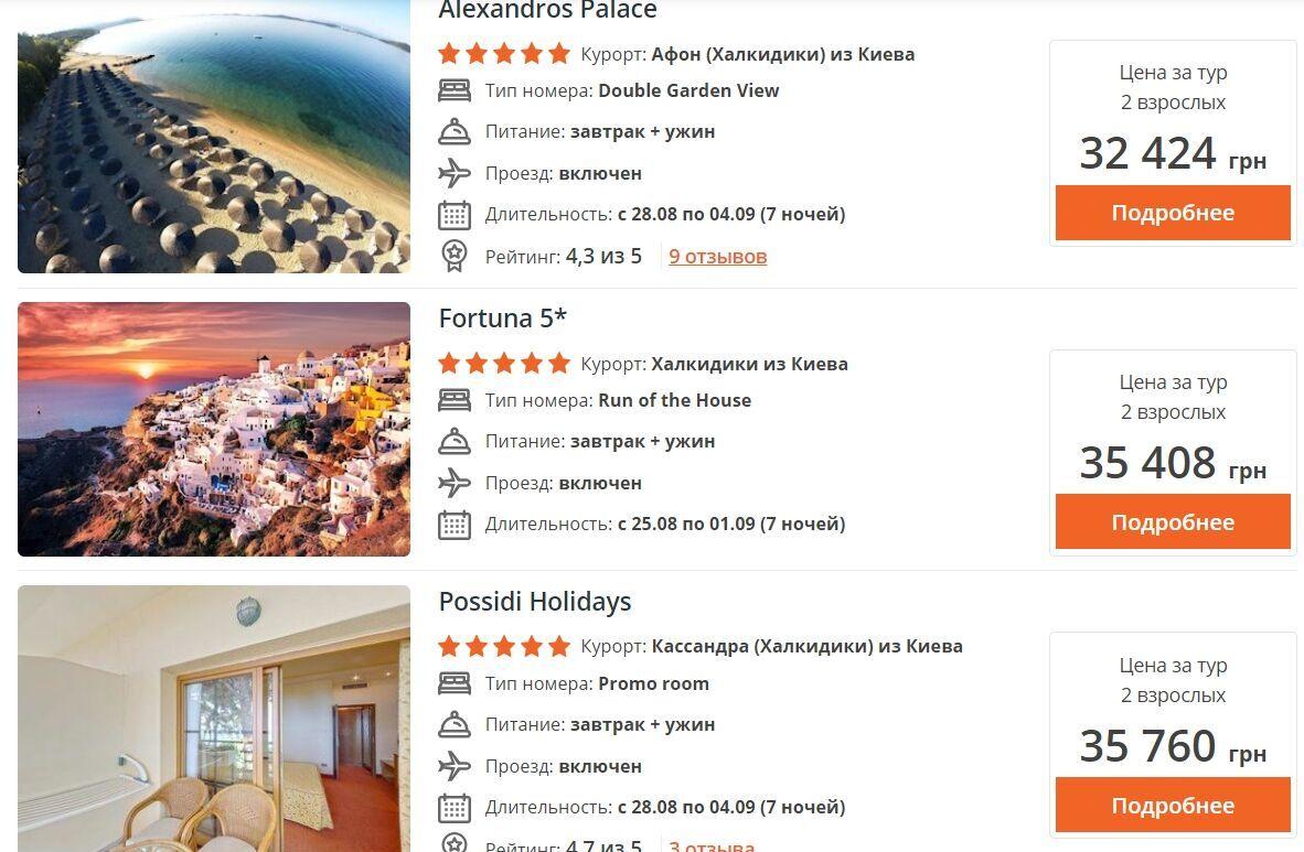 У п'ятизірковому поруч із пляжем ціна вже становитиме від 32 424 грн.
