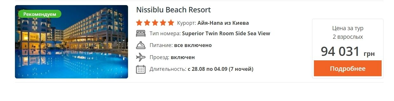 Найдорожчі кіпрські готелі на тиждень можуть коштувати до 100 тисяч гривень