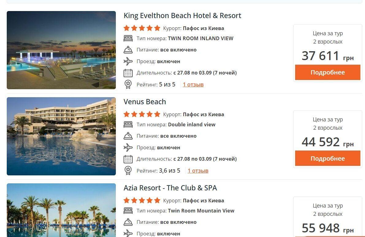 Пожити тиждень у п'ятизірковому готелі з повним харчуванням на Кіпрі можна від 37 тисяч гривень